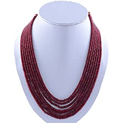 Kastiya Jewels Seven Layer Ruby Red Coloured Jade Quartz Gemstone Beads Kanta Necklace Mala For Women