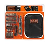 BLACK+DECKER A7104-XJ - Kit para atornillar 56 piezas. Con destornillador tipo carraca. Nylon