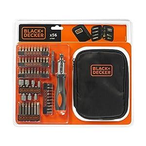 51%2BRtSpU5mL. SS300  - BLACK+DECKER A7104-XJ - Kit para atornillar 56 piezas, incluye destornillador tipo carraca