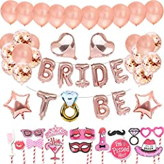 Idea Regalo - AivaToba Addio al Nubilato Gadget con Bride To Be Palloncini Banner Party in Oro Rosa, Palloncini Rosegold, Palloncini coriandoli per Addio al Nubilato Festa con Addio al Nubilato Photo Booth Props