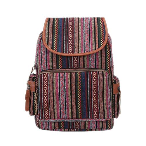 Frauen Leinwand Rucksack Baumwolle Kinder Tasche Weibliche Gypsy Bohemian Boho Chic Brown Rucksack Taschen Pink - Tasche Bohemian-tasche