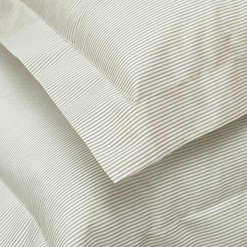 Great Knot Cambridge gestreifte Kissenbezüge, zu 100% ägyptischer Baumwollperkal, Fadenzahl 200, extragroß, quadratisch, 80 x 80 cm, Farbe: Milchkaffee -