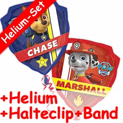 Preisvergleich Produktbild Folienballon Set * PAW PATROL + HELIUM FÜLLUNG + HALTE CLIP + BAND * für Kindergeburtstag oder Motto-Party // SUPERSHAPE // Folien Ballon Helium Deko Ballongas Motto Hund Fernsehen TV Chase Marshall