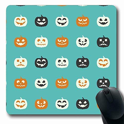 Luancrop Mousepad Oblong Party Black Pumpkins Herbstferien Boo Scary Helle Besen Kostüm Cute Design Waagen Büro Computer Laptop Notebook Mauspad, rutschfeste Gummi (Scary Pumpkin Kostüm)