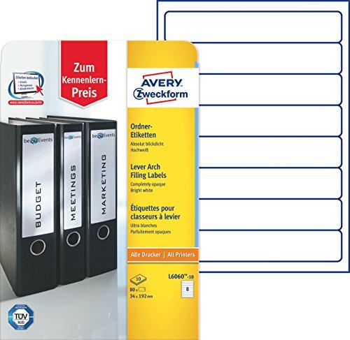 Avery Zweckform L6060-10 Ordnerrücken Etiketten (A4, 80 Rückenschilder, schmal/kurz, selbstklebend, blickdicht, 34 x 192 mm) 10 Blatt, weiß