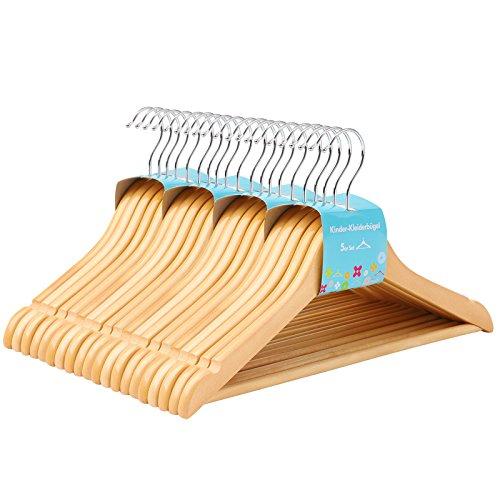 Songmics appendiabiti in legno, 20pezzi, per bambini con ponte, con tacche, ruotabile di 360° gancio, naturale, 35cm crw006–20