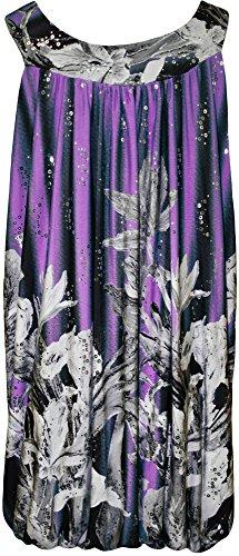 WearAll - Grande taille paillette imprimé ourlet bulle débardeut top long sans manches - Hauts - Femmes - Tailles 42 à 56 Pourpre