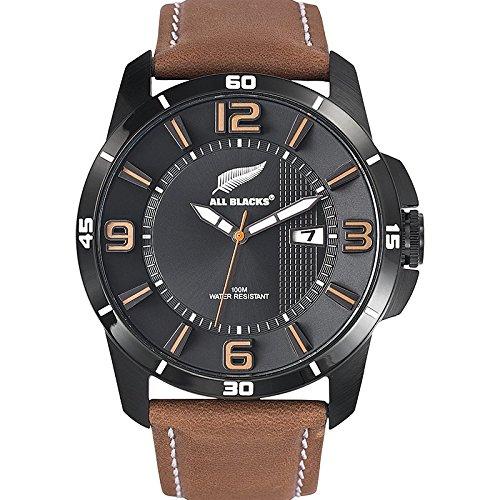 all-blacks-680235-montre-homme-quartz-analogique-cadran-noir-bracelet-cuir-marron