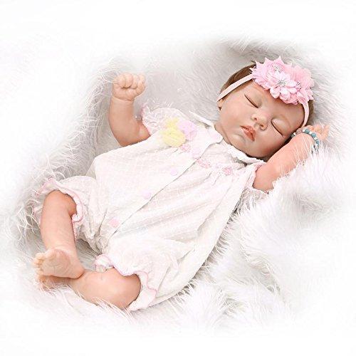 NPKDOLL Renacer De La Muñeca De Silicona Suave Mitad De Vinilo De 20 Pulgadas 50 Centímetro Magnética Boca Realista Chico Juguete Niña Durmiendo Rosa Reborn Doll A1ES