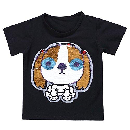 rt für Kurzarm Baumwolle Tee Hund Pailletten Druck T-Shirt Geeignet für Jungen und Mädchen (Höhe 110Zentimeter(cm), Schwarz) (Halloween-kostüme Buchstaben T)