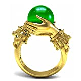 EVBEA Einzigartige Meditation Ring einzigartige antike Gold Farbe Rosenkranz Hand Smaragd Kristallkugel Frauen Gebet Ringe