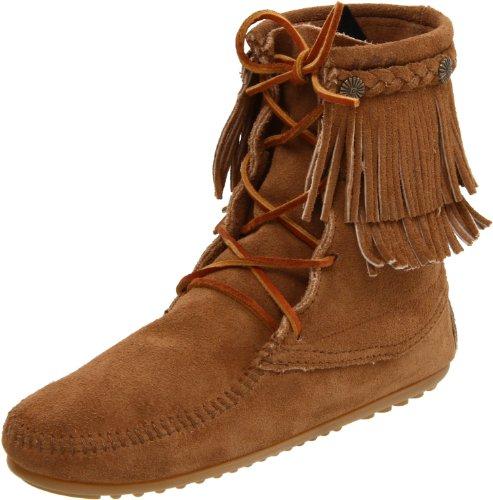 Braun Mokassin Boots Double Minnetonka Kurzschaft Fringe Tramper Damen Taupe wqAwxgUf