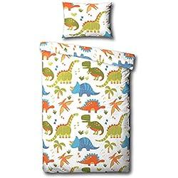 dinosaurios cama edredn jnior cubra y la funda de almohada juego de cama blanco