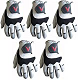 Gator - 5 guanti da golf, in 100% pelle Cabretta, con logo V