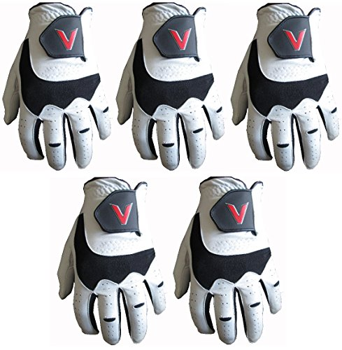 5 100% Cabretta Leather Golf Gloves V Logo (Medium, left)