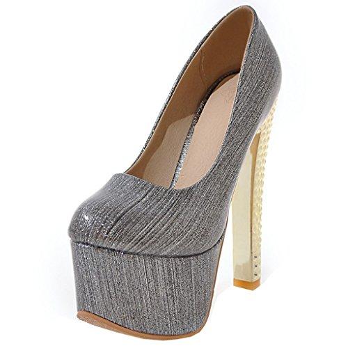 ENMAYER Frauen Lackleder Sexy Plattform Stiletto Super High Heels Runde und Peep Toe Pumps Slip auf Hochzeitskleid Court Schuhe 34 B(M) EU Grau#16
