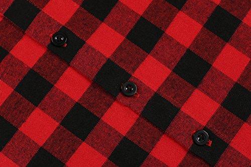 Coofandy Herren Hemd Langarm Kariert Freizeit Hemd Baumwolle Button-Down 24-Rot