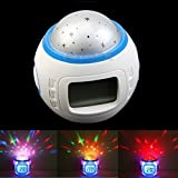 #8: Vmoni Music Starry Star Sky Projector Desktop Table Night Light Calendar Thermometer digital Alarm Clock For Kids Best Gift