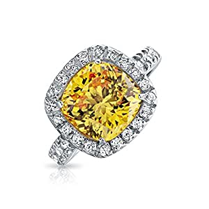 Bling Jewelry Canary Yellow CZ Cushion Cut 925 Sterling Silver 3ct Engagement Ring