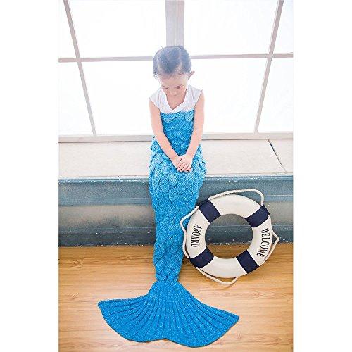 Preisvergleich Produktbild Foreverone Meerjungfrau-Endstück-Decke, strickende handgemachte Sofa-Steppdecke Wohnzimmerdecke Nixe-Decke mit Fischmaßstab Muster für Ihre Kinder u. Kinder 140cmx70cm (blau)
