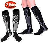 Compression Socks For Women & Men - 2 Pairs Unisex 20-30mmHg Graduated Knee High Nursing Running Socks - Best for Medical, Running, Nursing, Flying ,Travel, Flight, Edema,Diabetic ( Women & Men,Size:S/M 2-8,L/XL 9-13,XL/XXL 12-18) (Black, L/XL)