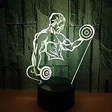 3D Illusion Lampe Heißer Verkauf Muskel Männer 3D Nacht Schreibtischlampe Hantel Fitness 7 Bunte...