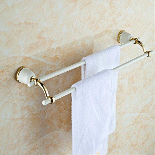 LHbox Tap Weiß Gold-Brass Handtuchhalter Handtuchhalter im Badezimmer Wand malen Falten Doppel Bar-Racks, doppelter Handtuchhalter (Falten Malen)