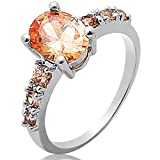 Sarahbridal Fashion Rings Champagne Oval & Round Cut Morganite Gemstones Gold Plated Ring For Women Girls Lady Size T 1/2 SA0057-10