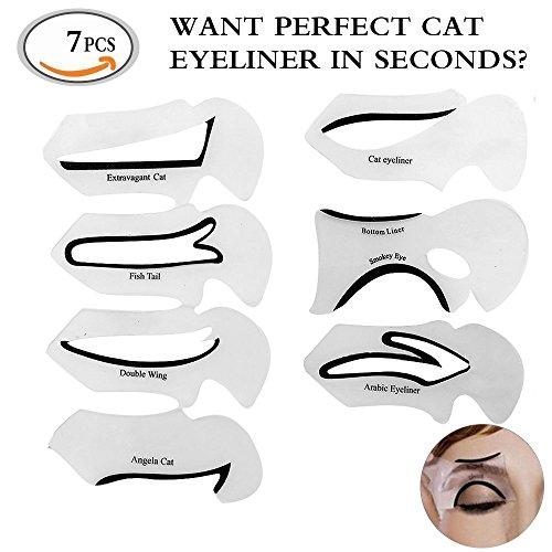 MLMSY Set of 7 Makeup Beauty Cat Eyeliner Smokey Eye Stencil Models Template Shaper Tool Perfect Cat Eyeliner And Smoky Eyes Eyebrows Template Card Makeup Tool