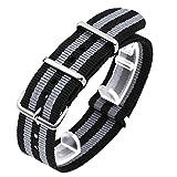 #7: SINOBI Casual Men Nato Nylon Stripe Watchband, Unisex Sport Buckles Canvas Strap Elastic Male Wristbands
