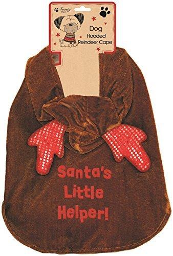 Für Kleinen Den Kostüm Rentier Hund (Frosty Paws Abgedeckt Rentier Umhang Weihnachtsmann Kleiner Helfer Hund Outfit -)