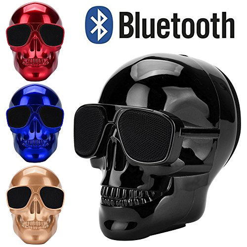 Altsommer Totenkopf Muster Wireless BluetoothV3.0 Lautsprecher mit 2-4 Stunden Exzellenter Sound,HD-Sound und Bass für Weit kompatibel,Portable Lautspreche mit 5W,1000 mAh (Schwarz)