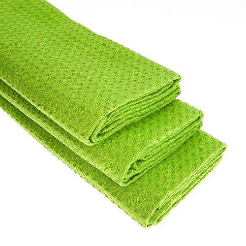 3x Geschirrtuch aus 100% Baumwolle Waffel-Piqué in hellgrün / Apfelgrün Küchentuch / Gastro …