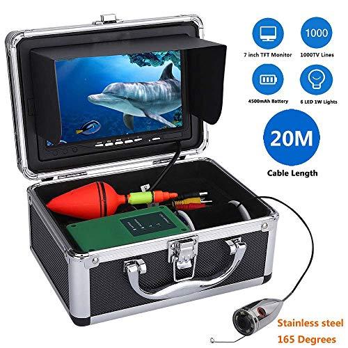 Fish finder 20M 1000Tvl Unterwasser-Fishing-Videokamera Kit 6 PCS LED-Leuchten mit 7 Zoll Farbmonitor (Angeln-leuchten Für Boote)