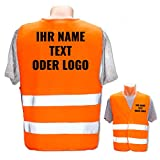 Warnweste mit eigenem Aufdruck * Bedruckt mit Name Text Bild Logo Firma * Personalisiertes Design Selber Machen, Farbe Warnweste:Orange, Druckposition:Rücken + Linke Brust