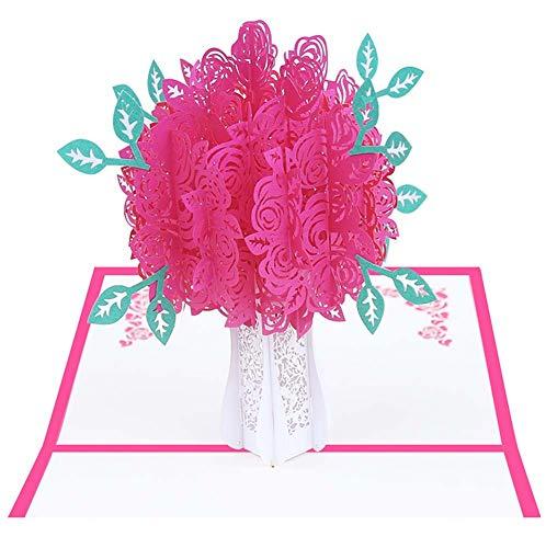Schneiden Hochzeitseinladungen, Rose Party Einladung, Leere Seite Laser Schneiden Muster Handgefertigt Geeignet für Braut Hochzeit,Pink,50PCS ()