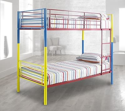 Happy Beds Rainbow Bunk Bed 3ft Metal Multi-Coloured Kids Children Bedroom