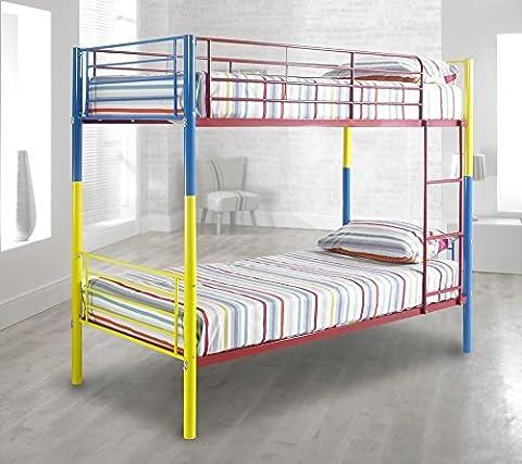 Happy Beds Rainbow Bunk Bed Metal Multi-Coloured Kids Children Frame 3' Single 90 x 190 cm