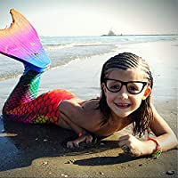 Mermaid Tails Swimsuit with Monofin Swimmable Mermaid Tails By LinTimes for Swimming Swimwear for Girls Kid Rainbow M