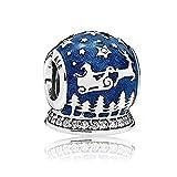 Romántico Amor Charm-Anhänger für Pandora-Armbänder mit Rentier und Weihnachtsmann, blauer Emaille, klare Zirkonia, silberfarben