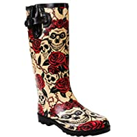 Ladies Womens New Wide Calf Adjustable Snow Rain Mud Festival Waterproof Wellington Boots Wellies UK 3-8 (Maximum Calf Width 42 cm) (UK 3, Skull/Roses)