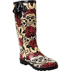 A&H Para mujer, ajustable, pantorrilla de goma, impermeable, festival, lluvia, barro, nieve, Wellington