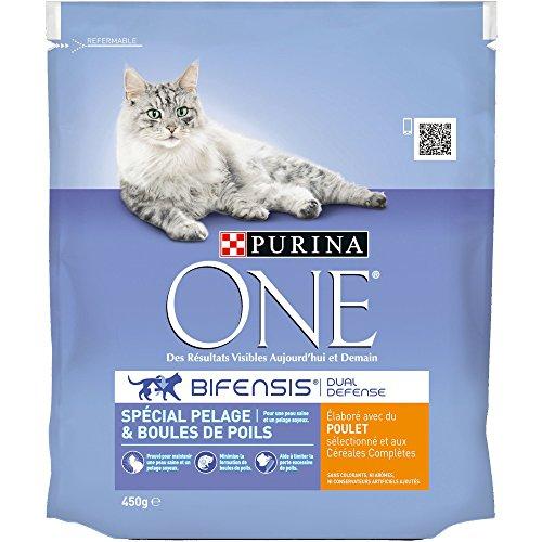 Purina One Spécial Pelage & Boules de Poils - au Poulet et aux Céréales Complètes - 450 g - Croquettes pour Chat Adulte - Lot de 10