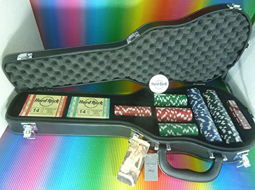 hard-rock-cafe-poker-set-in-a-guitar-case-simulated-leather-200-poker-chips-2-decks-playing-cards-5-