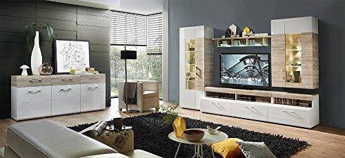 Wohnzimmerschrank, Wohnwand, Schrankwand, Anbauwand, Fernsehwand, Wohnzimmerschrankwand, Wohnschrank, weiß, Hochglanz, Eiche-Nb., Beleuchtung - 5