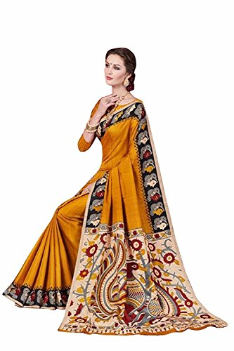 Rajeshwar Fashion Women's Khadi Saree With Blouse Piece (Kalamkari 5 Musturd Ssc4_Multi-Color)