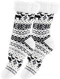 Yenita 2 Paar Hüttensocken mit weichem Innenfell und ABS-Sohle, Warme Winter Socken, weiss