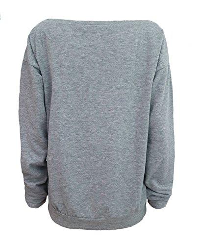 ZIOOER New Arrival Damen Pulli eine Seite Schulterfrei Love Langarm T-Shirt Rundhals Ausschnitt Lose Bluse Hemd Pullover Oversize Sweatshirt Oberteil Tops Grau