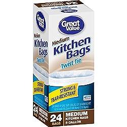 8 Gallon, 24 Count Twist Tie Small Kitchen Bags, White (24)