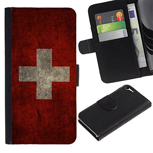 Graphic4You Vintage Uralt Flagge Von Schottland Schottisch Design Brieftasche Leder Hülle Case Schutzhülle für Apple iPhone SE / 5 / 5S Schweiz Schweizer